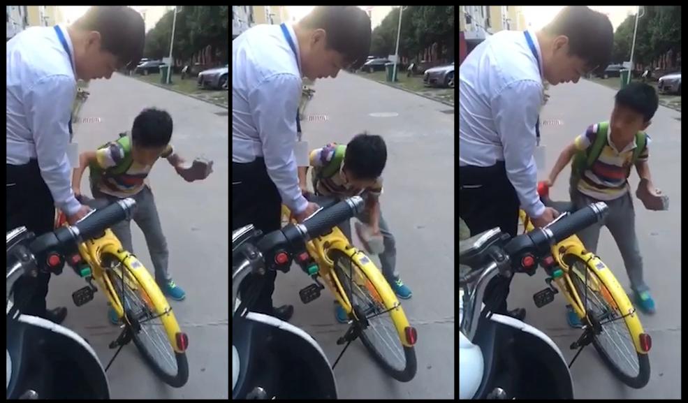 [视频]小学生又来炫技 用板砖一秒解锁小黄车
