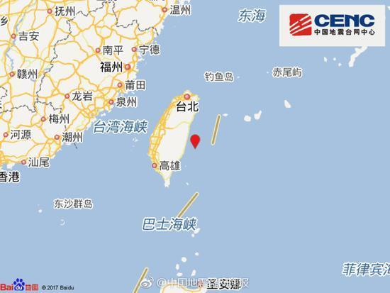 台湾花莲县海域发生5.5级地震