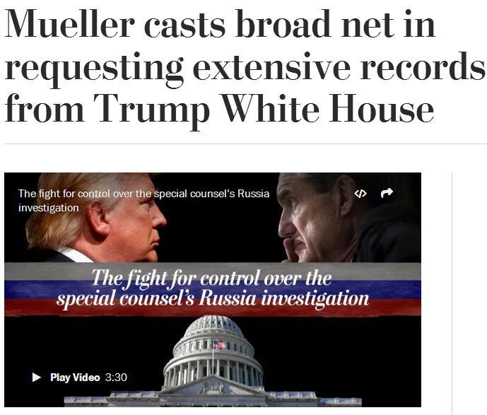 """""""通俄门""""特别检察官要求白宫提供大量记录和电邮"""