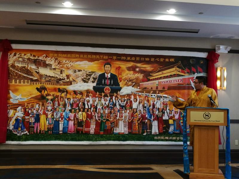 海外爱国藏胞用巨幅油画迎接党的十九大召开