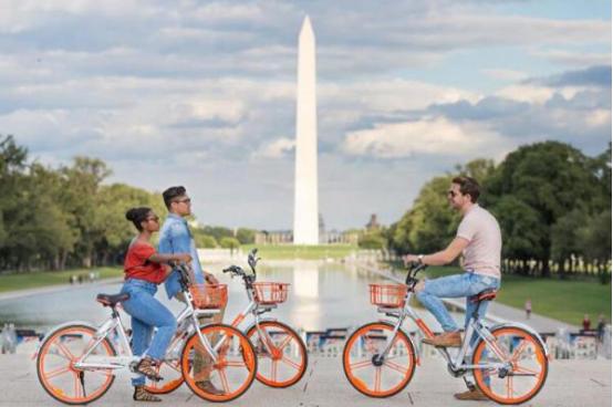 中国共享单车登陆华盛顿 骑行半小时支付1美元