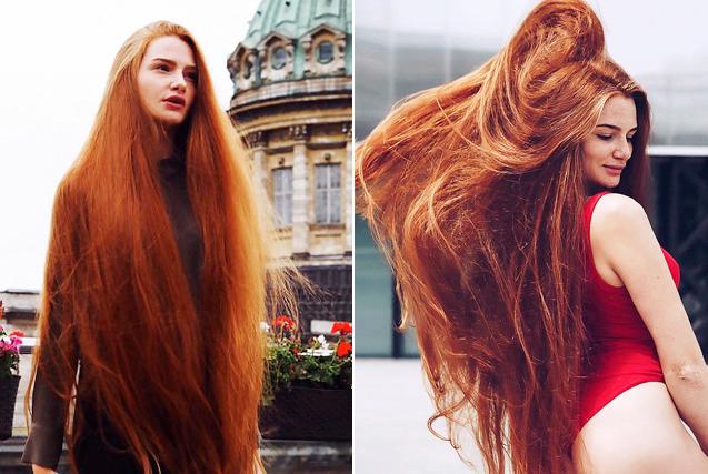 """俄""""长发公主""""大秀106厘米红色秀发"""