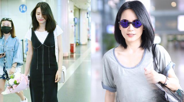 46岁俞飞鸿与48岁许晴机场同框,谁真嫩谁装嫩看一眼就知道!