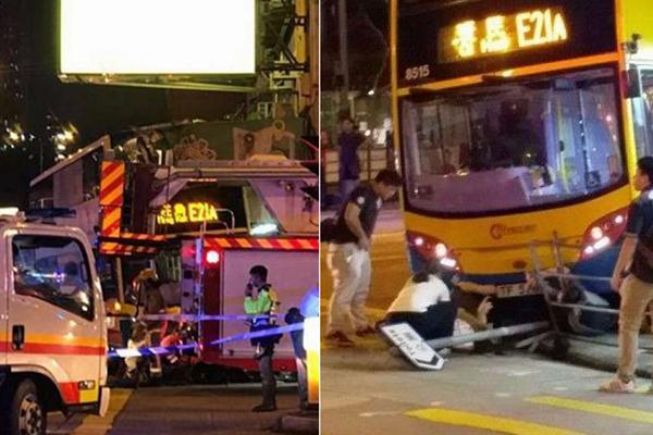 香港深水埗巴士撞上行人路 至少3人死亡
