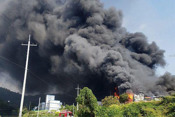 韩国一泡沫塑料厂起火 现场黑烟滚滚