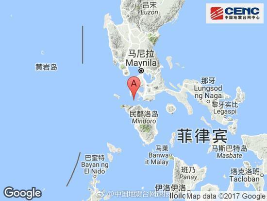 菲律宾发生5.0级地震 震源深度190千米