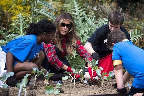 """美国""""第一夫人""""首次下菜园 带领儿童干农活"""