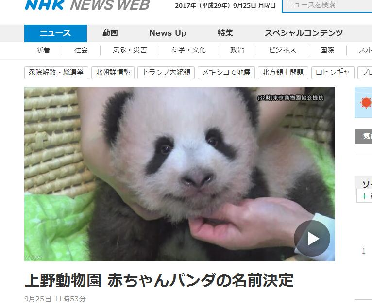 """日本上野动物园熊猫宝宝终于有名字啦!""""香香""""脱颖而出"""