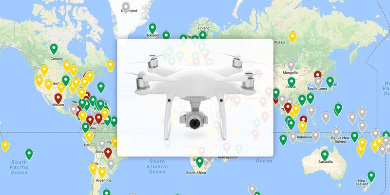 通过地图了解各国对于无人机的相关规定