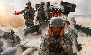青铜峡演习炮兵部队全力开火