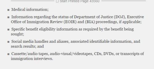 联邦公报新规中移民档案的部分条目,其中包括社交媒体部分(美国中文网)