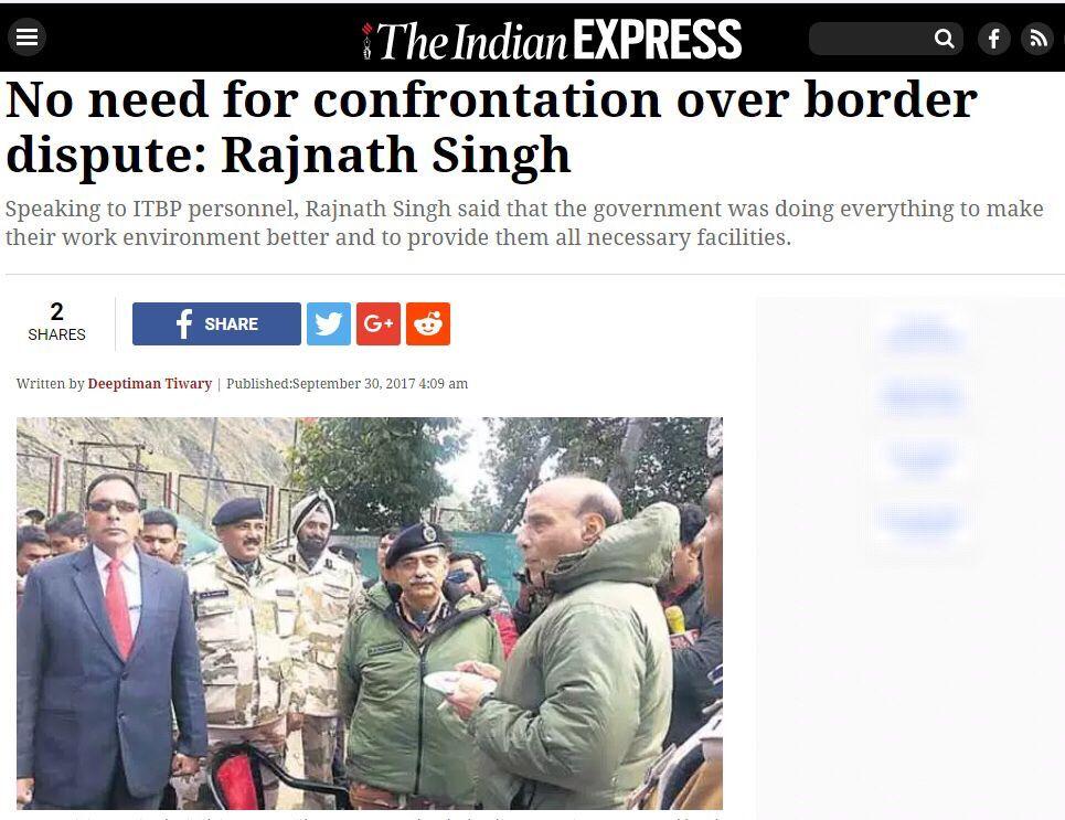 印部长:中印边境没必要对抗 需对话解决问题