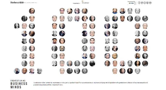福布斯评出百位全球最伟大商业思想家 你认识几个?