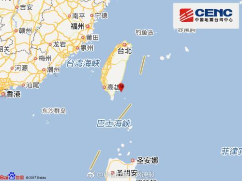 台湾台东县海域发生4.0级地震 震源深度7千米