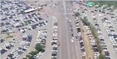 宁夏沙湖景区停车场爆满