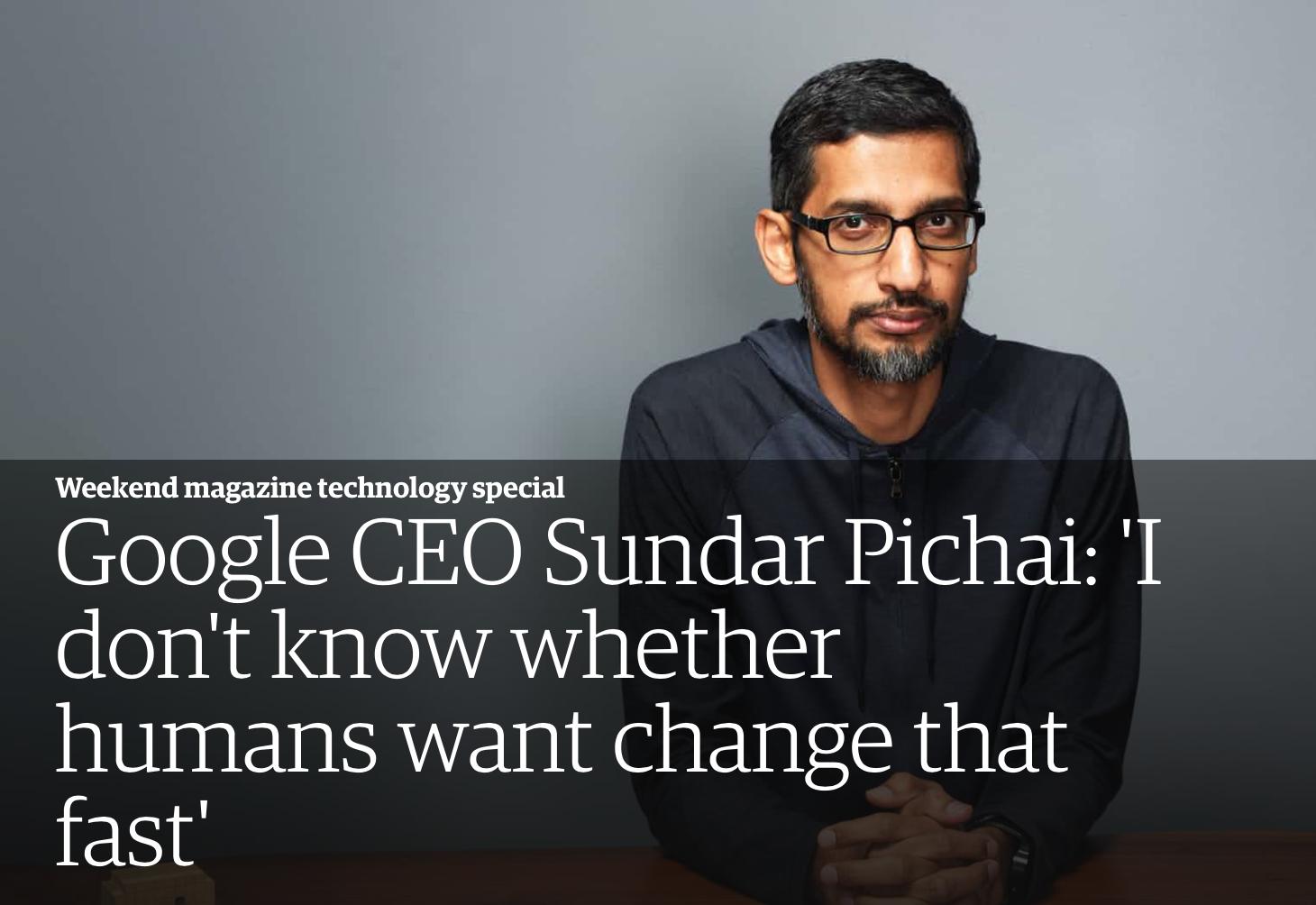 谷歌CEO:小时候没有电话、冰箱 科技是自己的使命