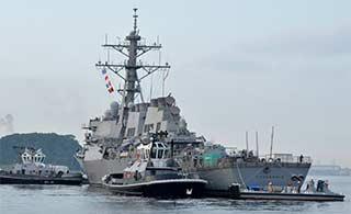 被撞驱逐舰离开日本返回美国