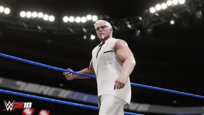 上校老爷爷参战《WWE2K18》 卖完鸡块就打人