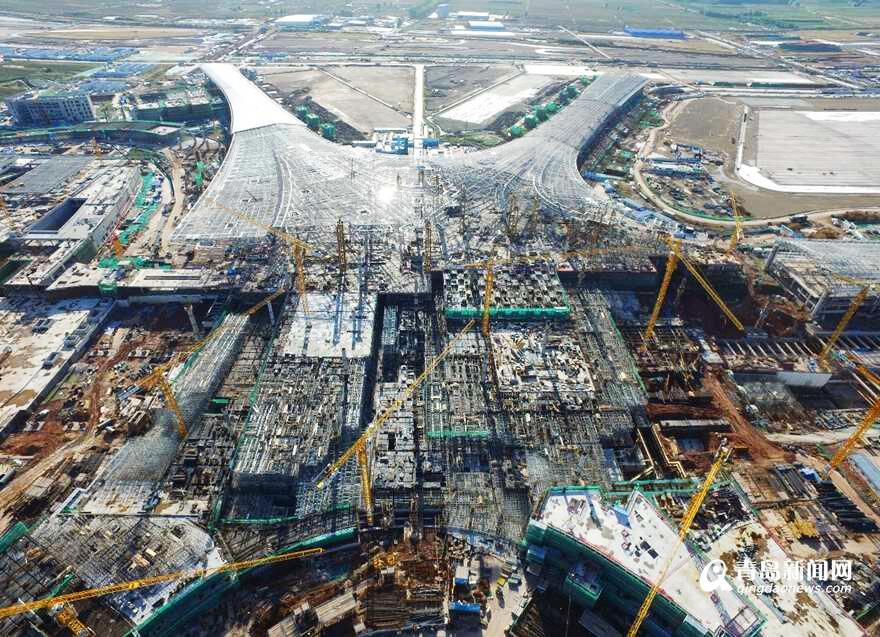 """青岛新机场最新航拍照:""""海星""""现雏形"""