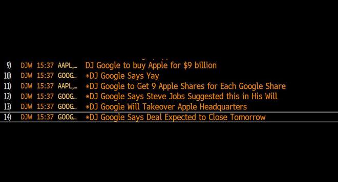 """道琼斯解释""""谷歌收购苹果""""假新闻:系技术问题"""