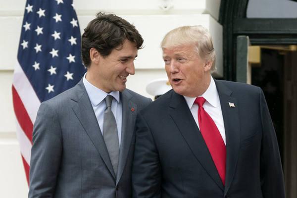美总统特朗普会晤加总理特鲁多 相谈甚欢