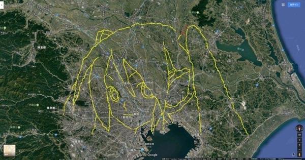 日本宅男走上千公里 用GPS画出女神