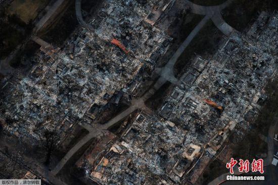 美国加州森林大火 航拍山火所到之处只剩一片瓦砾(组图)