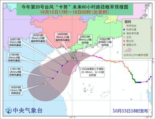 """台风""""卡努""""今日登陆琼粤沿海 最大风力可达15级"""