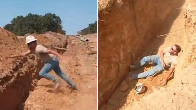 美建筑工人欲跨过沟渠不慎栽倒脸朝下跌入沟渠