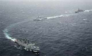 日印海上联合演习日称赞印度海军