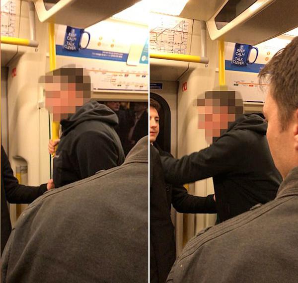 """实拍英地铁男子高声辱骂""""借过""""女乘客"""