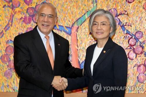 韩外长会见经合组织秘书长 就深化国际合作达成一致