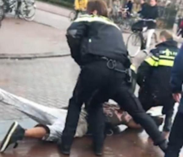 作死!荷兰男子戏弄警犬后被其咬住裤腿拖倒在地