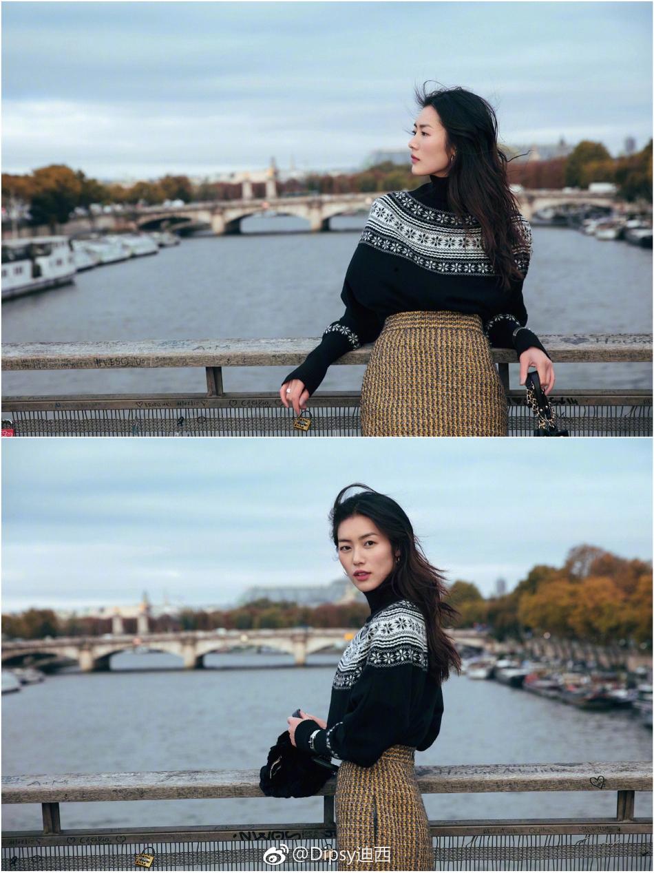 刘雯巴黎街拍大片 塞纳河畔秀发起舞唯美动人