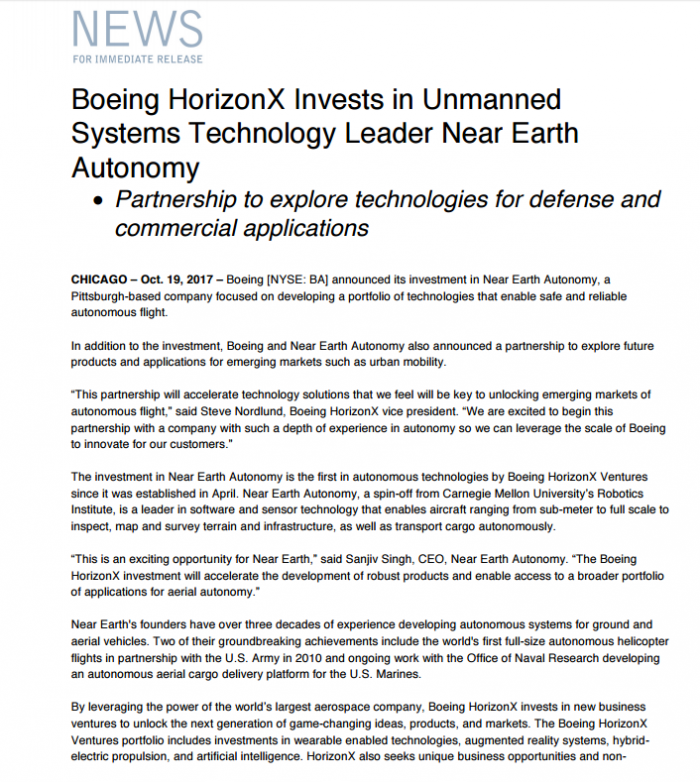 这家研究机构研发飞机自主飞行技术 获波音投资