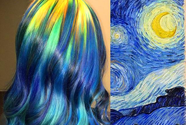 美造型师将头发染成彩色艺术品令人惊叹