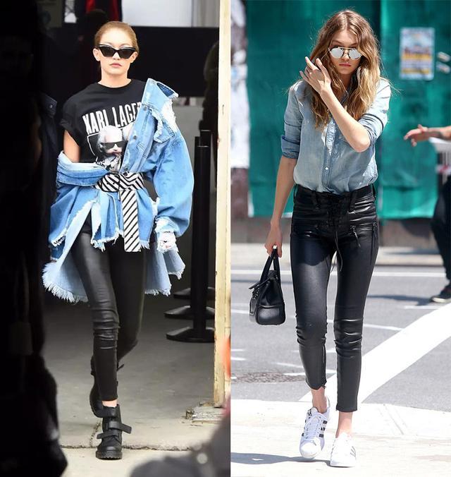 黑色外套和黑皮裤的一身黑look最百搭