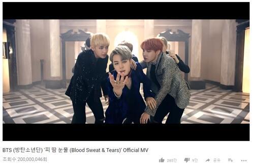 防弹少年团新辑主打曲MV在YouTube播放量破2亿