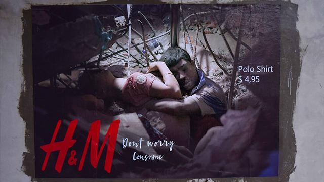 波兰华沙街头现快时尚品牌海报   控诉血汗工厂