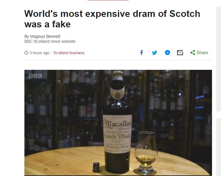 """英媒:中国富豪一掷千金购买""""世界最贵威士忌"""" 实验测试却是假货"""