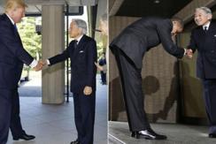 特朗普见天皇夫妇 VS 奥巴马会见时情景