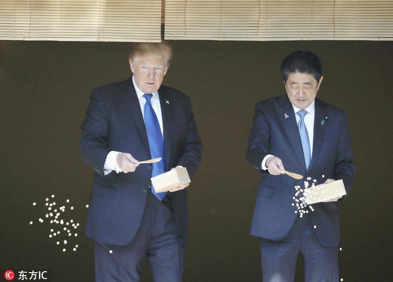 日本东京,美国总统特朗普访日第二天,与日本首相安倍晋三举行正式会晤图片