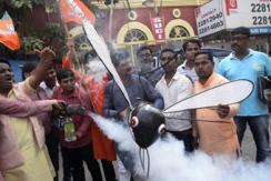 印民众烟熏巨型伊蚊模型 抗议登革热