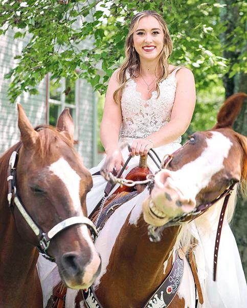 美国一新娘拍婚照时被呲牙笑马儿抢镜