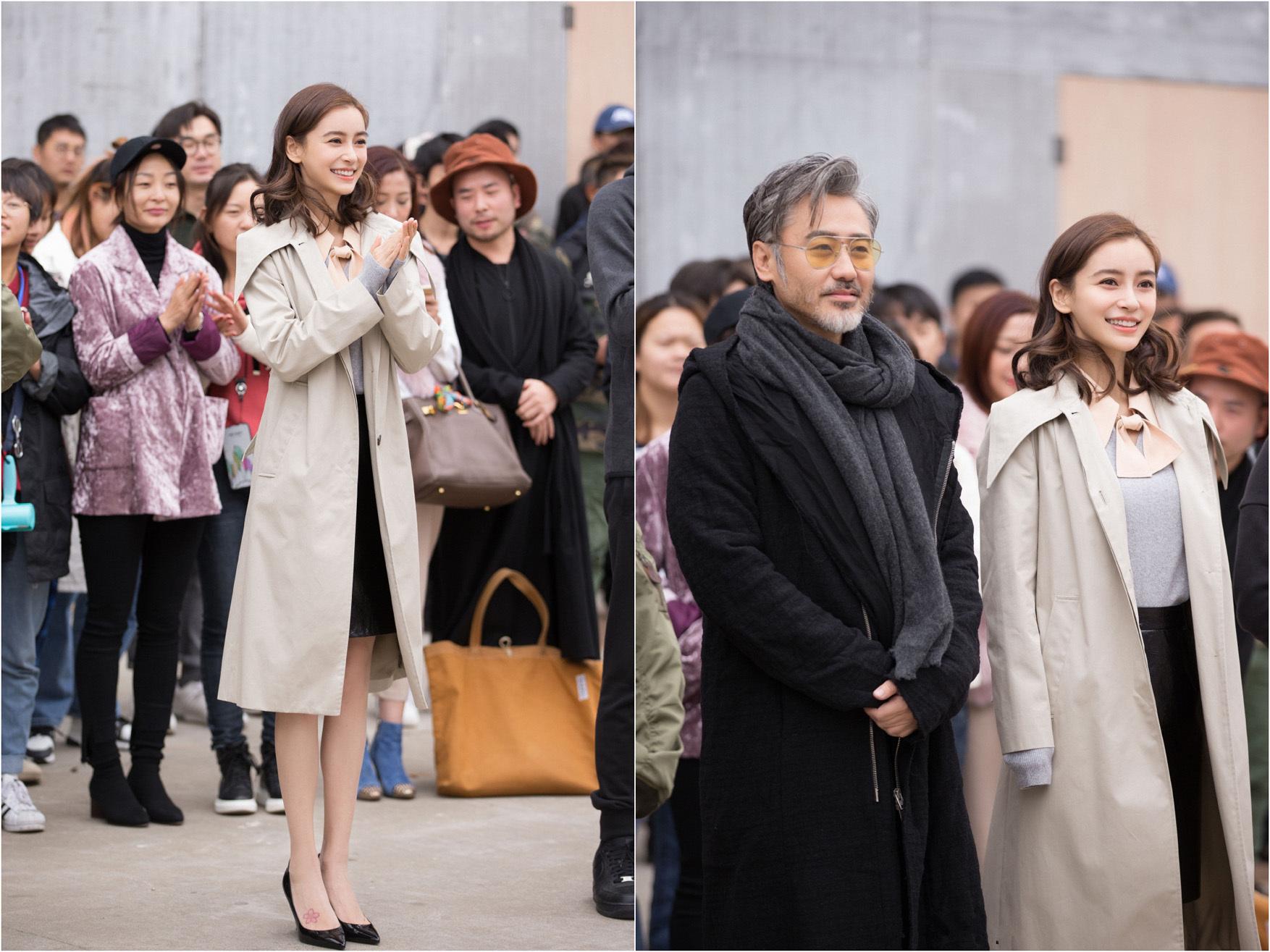 杨颖一身清新少女装搭档吴秀波接拍新戏!网友:回你的时尚圈吧