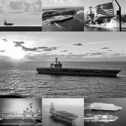 """图说:上排分别为""""里根""""号、""""罗斯福""""号和""""斯坦尼斯""""号;中间为""""林肯""""号;下排分别为""""卡尔·文森""""号、""""尼米兹""""号和""""福特""""号。(美国海军学院新闻网配图)"""