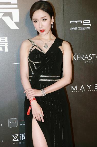 娄艺潇出席活动 身穿开衩礼裙秀性感