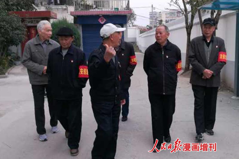 安徽合肥巢湖市街道老党员组成社区义务巡逻队