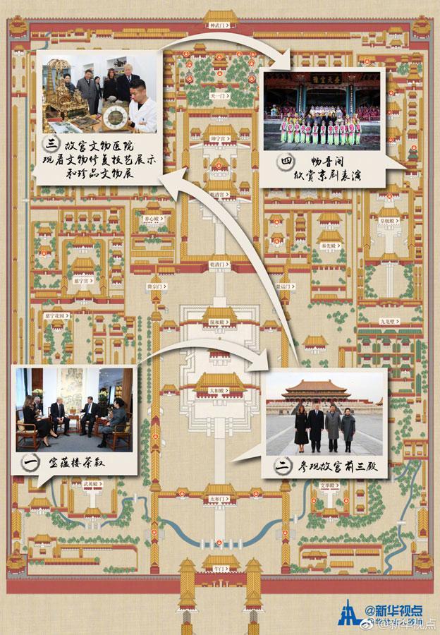 中美元首夫妇故宫行路线图