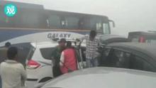 印度新德里雾霾13车连撞